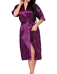 Hibote Mujers satén de Seda Larga Novia de la Boda Dama de Honor Robe Kimono Robe