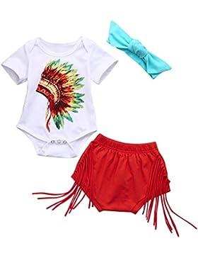 Babymode Baby Sommerkleidung Longra Baby Mädchen Indian Print Strampler und Baby Quasten Shorts Rot mit Stirnband...