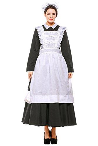 Maid Kostüm Hausmädchen Lang Kleid Dienstmädchen Schürze Cosplay Schwarz-Weiß L (Weiße Schürze Kostüm)