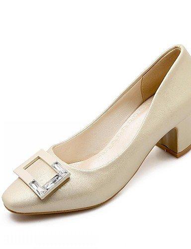 WSS 2016 Chaussures Femme-Bureau & Travail / Habillé / Décontracté-Rose / Blanc / Gris / Beige-Gros Talon-Talons-Chaussures à Talons-Microfibre beige-us7.5 / eu38 / uk5.5 / cn38