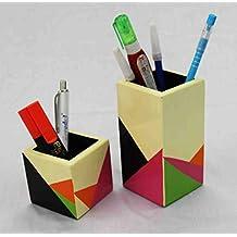 Sweta Art and Crafts Pair Wooden Pencil/Pen Holder, 17 cm x 10 cm