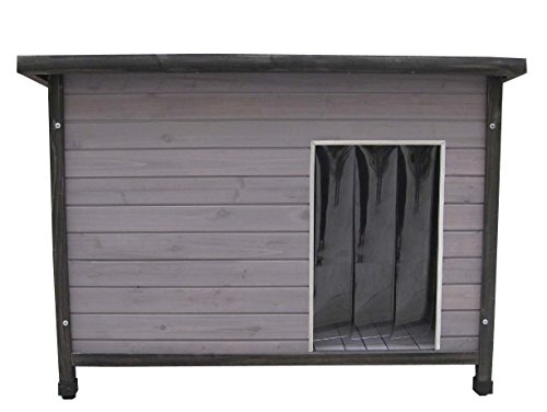 Holz-Hundehütte mit Flachdach, grau lasiert, inkl. Pendelklappe