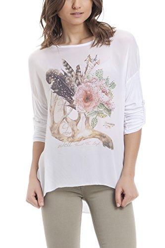 Laura Moretti - Blouse en soie asymétrique avec imprimé floral clouté Blanc