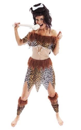 NEW LADIES CAVEWOMAN FANCY DRESS COSTUME OUTFIT ()