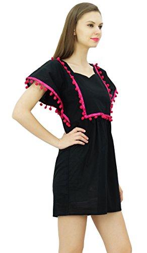 Bimba Frauen Kimono Ärmel Kurz Kaftan Kleid Pom Pom Spitze Boho Beach Coverup Kleider Schwarz