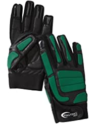 Full Force Handschuhe Full Force Bull OL/DL gepolstert - Guantes de receptor para fútbol americano ( para cualquier clima, cuero ) , color negro / verde, talla M
