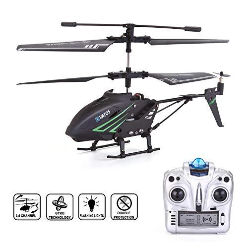 VATOS RC Helikopter, Ferngesteuert Helikopter Indoor mit Gyro und LED Lichtern 3,5 Kanäle Fernbedienung Hubschrauber Mikro RC Hubschrauber Geschenk für Kinder und Erwachsene