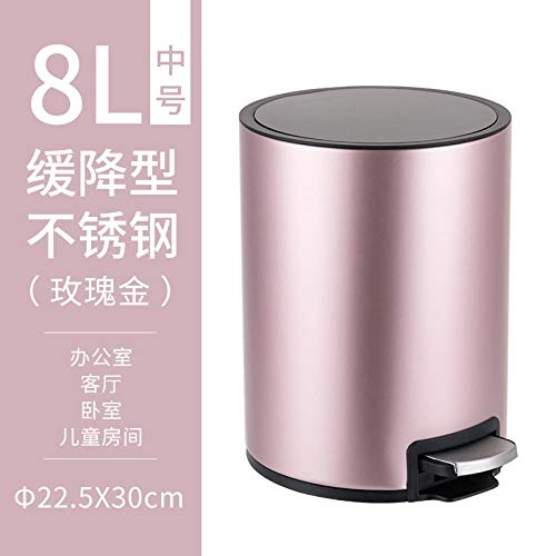 Good Time Store Dustbin Household Toilet Living Room Kitchen Covered Stainless Steel Creative Dustbin, 8L Rose Gold 8 Liter Rose