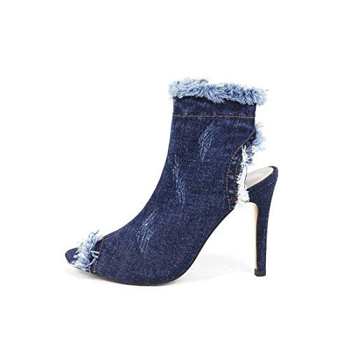 Elegantes Toe Jean Sexy Et Lautomne Femmes Uh Talons Bottes Toile À qXCxfU