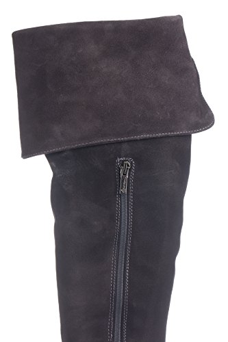 Laura Moretti Musketeer High Boot Above The Knee And Sole Heeled Platform, Bottes de moto femme Gris