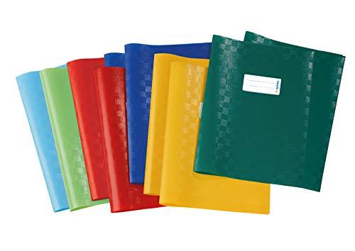 Herma 19997 Heftumschläge DIN A4, Kunststoff, gedeckt mit Baststruktur, Set mit 10 Heftschoner, mehrere Farben, für Schulhefte (Computer Im Klassenzimmer)