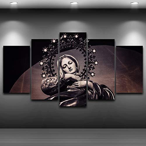 wkoqel Cuadro en Lienzo 5 Partes Arte Moderno de la Pared Imágenes de Lienzo para Sala de Estar Carteles 5 Piezas Virgen María Pintura Decoración para el hogar HD Impreso Foto Sin Marco