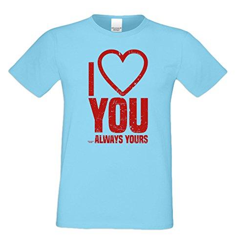 Modisches Geburtstags-Geschenk / T-Shirt für Männer mit Print Aufdruck: I love you Farbe: hellblau Hellblau