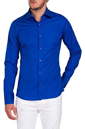 Herren Langarm Hemd Business Anzug Freizeit Hochzeit Basic Standard Slim Fit Sax-Blau