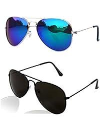 Combo Of Unisex UV Protected Full Black Aviator And Blue Mercury Aviator Sunglasses For Boys Mens & Womens -2...