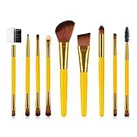 YuLinStyle 9 Pcs Makeup Brushes Set Powder Brush Eye Shadow Brush Yellow Makeup Tools Makeup Brush Set makeup brushes sets