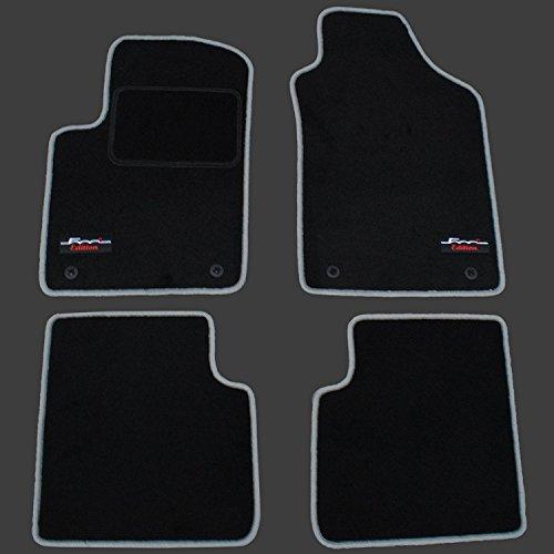AME - Auto-Fußmatten Velours mit silbergrauen Kettelung, Series Logo und eingearbeiteter Trittschutz inkl. runde Befestigungen 1371BKL Fiat 500 Autoteppich, Fußmatte