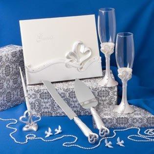 Interlocking Heart Themed Wedding Day Accessory Set by FavorWarehouse
