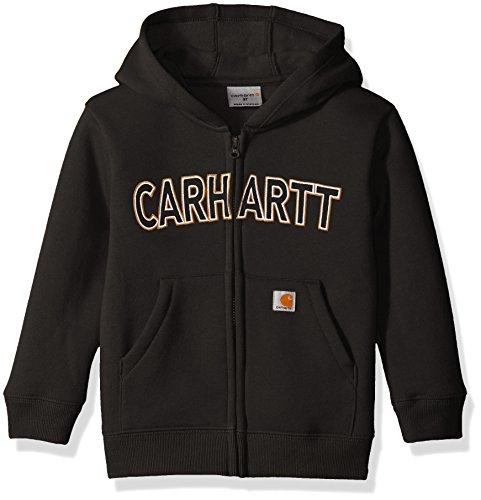 Carhartt Little Boys' Toddler Logo Fleece Zip Sweatshirt, Black, 4T -
