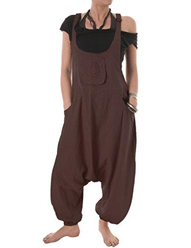 Vishes – Alternative Bekleidung – Baumwoll Latzhose Haremshose Overall braun 40 bis 42