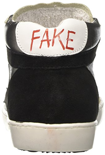 Fake By Chiodo Mid 097, Sneaker a Collo Alto Donna Argento (Laminato Argento/Crosta Nero)