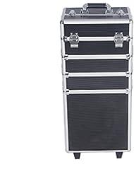 Anaelle PandamotoMallette Maquillage Trolley 4-in-1 en Aluminium Beauty Case au Milieu Stockage avec Verrous et Clés, Taille: 34*24*71cm, Poids: 6.5kg