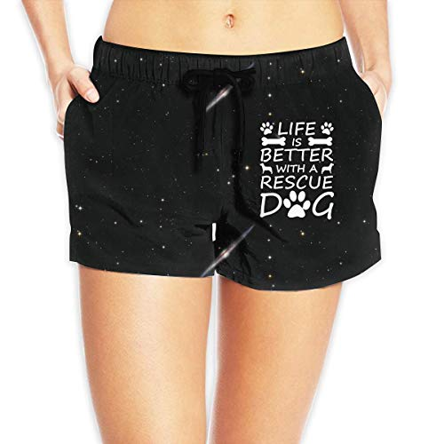 Women's Casual Swim Trunks Life is Tee Better with A Rescue Dog Funny Swimsuit -