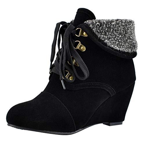 generisch Damen Stiefeletten Boots Kurze Damenstiefel Wildleder Wedges Round Toe High Heel Schnürstiefel in Übergröße Damen Chukka Boots Knot Wedge Sandal