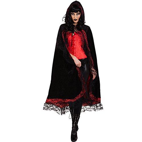 Amakando Kapuzencape mit Spitze - schwarz-rot - Edler Vampirumhang Damen Dracula Outfit Halloween Elegantes Vampire Cape Dark Fashion Vampirin Kostüm Gothic Umhang mit Kapuze