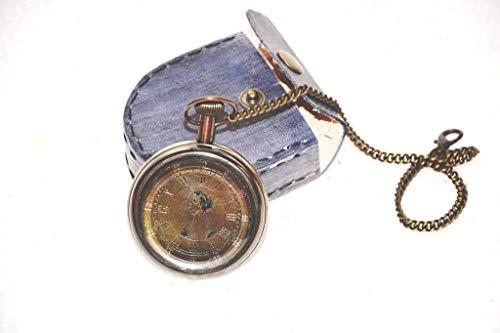 Buddha4all Batteriebetriebene Taschenuhr mit Lederetui Tasche Geldbörse Sammlerstück Antik-nautische Dekoration Astrolabe Messing Uhrenschutz