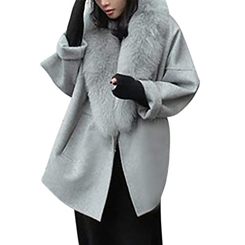 Tianwlio Mäntel Herbst Winter Damen Jacken Parka Warme Jacken Strickjacken Wollmäntel Kragen Plus Größe Warme Lose Wollmantel Grau M