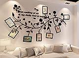 DECMAY DIY 3D Fiori Liana Adesivi Murali da Parete Muro Wall Sticker in Acrilico Impermeabile Rimovibile 200x106cm con 8 Cornici 7 inch Nero Camera da Letto Sala