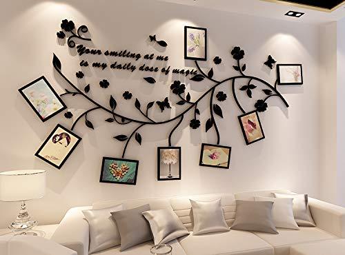 Ammybeddings 3d adesivi murali fiori liana decorazione adesivo da parete impermeabile 200x106cm con 8 cornice 7 inch wall sticker in acrilico nero camera da letto