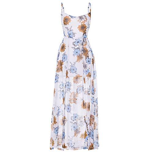 VECOLE Damenoberteile Summer Fashion Damen Böhmischer Reiserock Tropischer Blumendruck Sling Open Back Maxi Rock Kleiden(Weiß,L) -