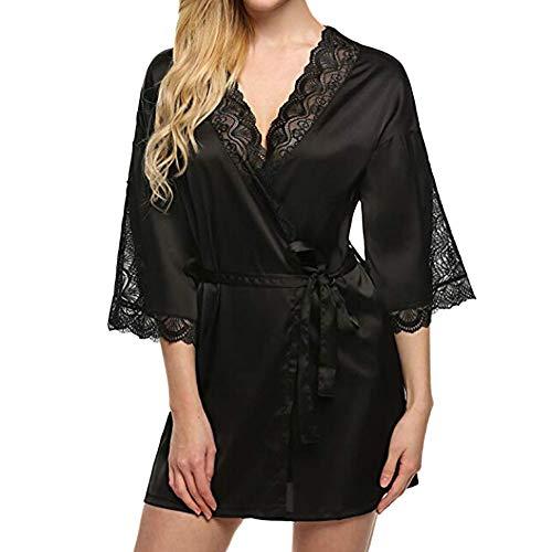 POachers Peignoir Satin Robe de Chambre Kimono Femme Sortie de Bain Nuisette Déshabillé Vêtements de Nuit Femme Satin Lingerie Dentelle Peignoir Robes de Mariée