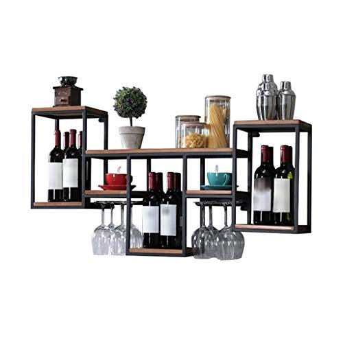 Lyn-up portabottiglie di vino, mensola da parete per vino in metallo ferro per bar porta bicchiere da vino appendino cube in legno (color : a)