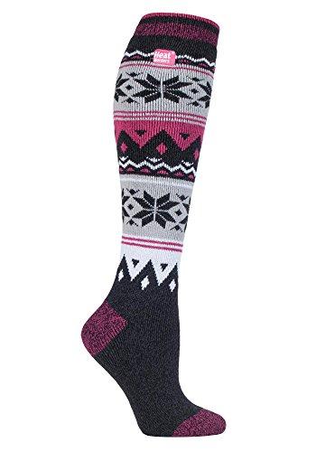 HEAT HOLDERS Lite - Damen 1.6 TOG Winter Warme Gestreift Extra Lang Leicht Dünn Kniestrümpfe Thermo Socken (37-42 EU, Marton)