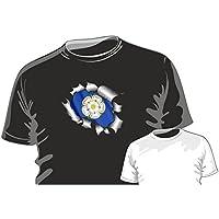 Metallo Lacerato Strappato Design con York Rosa Dello Yorkshire Bandiera Della Contea Motivo t-shirt maglia t-shirt by CTD