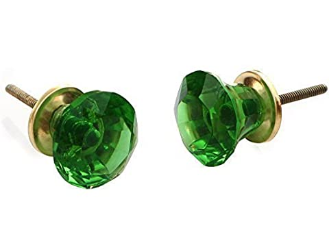 SouvNear Set of 2 Green Knobs and Pulls for Cabinet