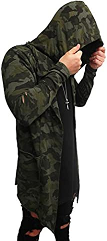 Camouflage Oversize Designer Sweat Jacke Cardigan Hoody Pullover Shirt Herren Hoodie Longsleeve m NEU Kapuzenpullover long Sweatjacke skater hip hop Sweatshirt Pulli longshirt body dope swag deep neck (L, dark
