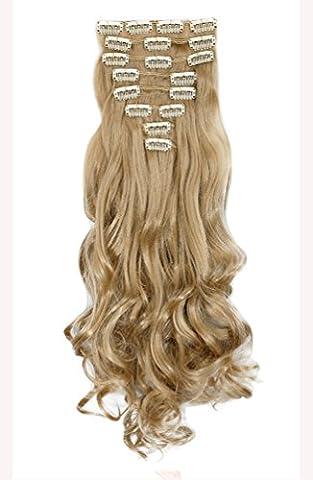 61cm 8 teiliges Set Clip in Hair Extensions Haarverlaengerung Haarteile Haarverdichtung Gewellt Gelockt Lockig Vollen Kopf