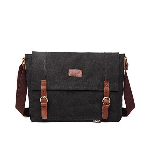 JTY Herren Umhaengetasche Handtasche Retro Canvas Tasche Freizeit Schultertasche Messenger Bag 36*27*10cm Schwarz