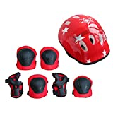 Features:Suitable for kids age 4-16 years old7 Pieces/set, include protective helmet, elbow, knee and hand pad set.It can greatly protect your children when playing.Adjustable straps and fastening tape, comfortable and convenient to wear.High-dens...