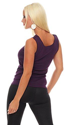 Hochwertiges Damen Träger-Top mit großer Spitze Nr. 416 (Oberteil / Unterhemd / Träger-Shirt) 100% Baumwolle ( Violett / 56/58 ) - 3