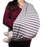 Stilltuch/Stillschal für diskretes Stillen Ihres Babys unterwegs: Der 2 in 1 MyTinyPearl Nursing Cover ist grau-weiß gestreift lässig & elastisch, ein Stillcape für Mütter und Babys