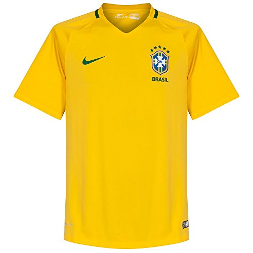 Nike Cbf YTH SS AW Stadium Jsy-offizielles Trikot von Brasilien M Gelb/Grün
