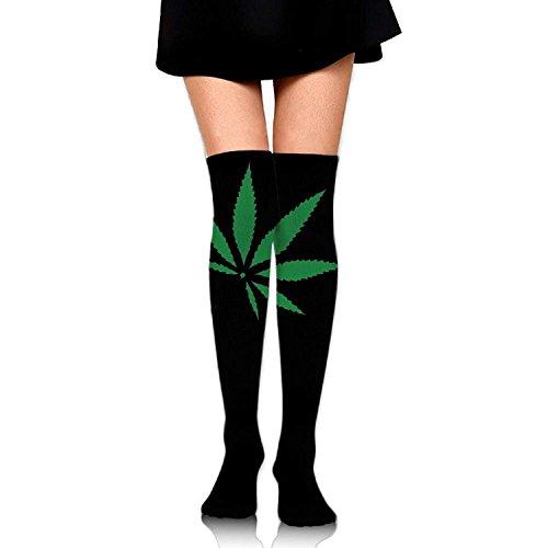 ded9a94ad81e2d Women Thigh High Socks Over Knee Tie Dye Weed Marijuana Green Leaf Extra  Long Tube Dress
