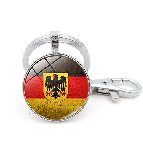 Schlüsselanhänger umerbee 1Land Flagge Schlüsselanhänger Schlüsselanhänger Key Holder. Gr. Silber, German Flag and Big Eagle 2 (Silver Eagle Flag)
