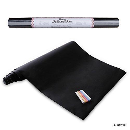 Stickers Tableau Noir Ardoise - Tableau Noir Autocollant Repositionnable - 43cm x 210cm 5 craies - Ezigoo