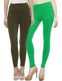 Sakhi Sang Leggings Pack of 2 : Olive Green & Parrot Green